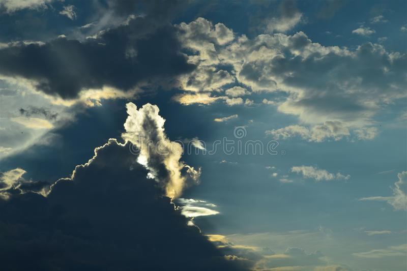 Grey Clouds and Blue Sky stock image