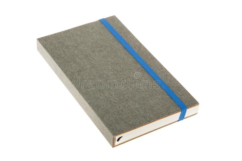 Grey color cover note book isolated. Sketch book. Diary notebook royalty free stock photography