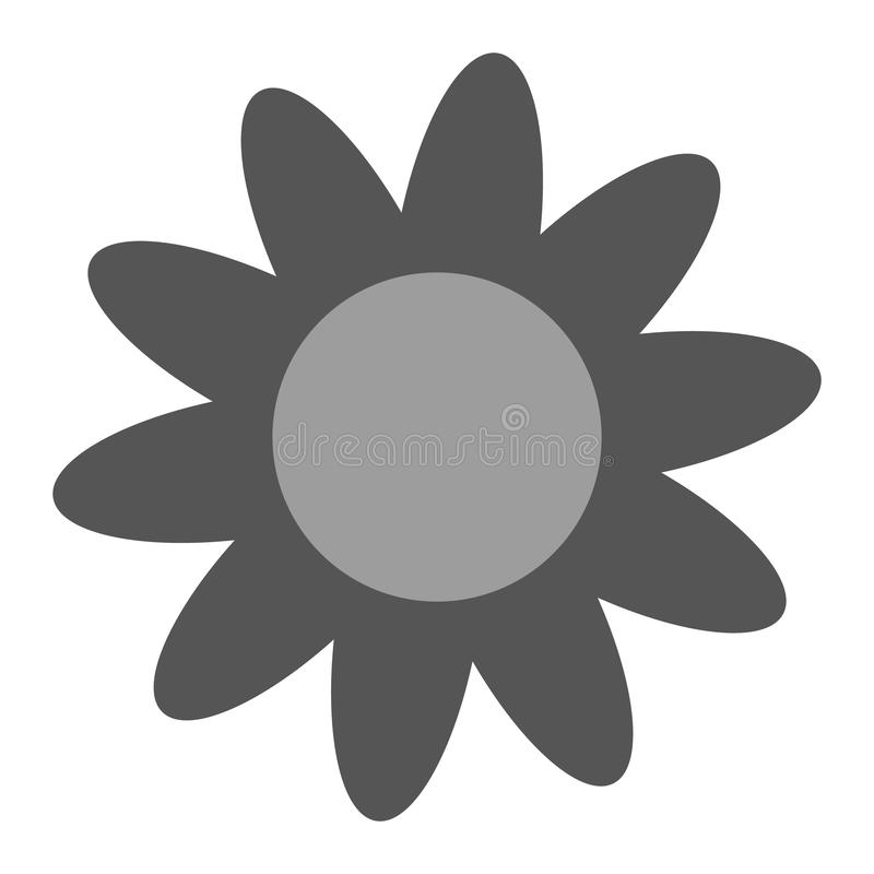 Grey color Daisy flower with petals on white background. Daisy flower icon vector eps10. stock illustration