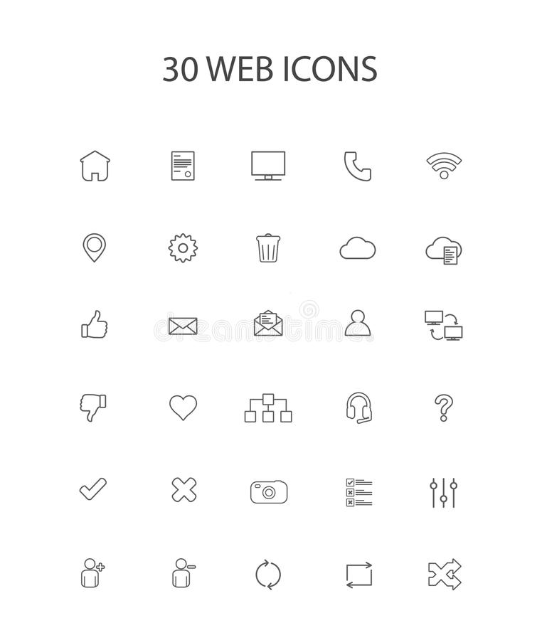 30 Grey Color Simple Web Icons vector illustratie