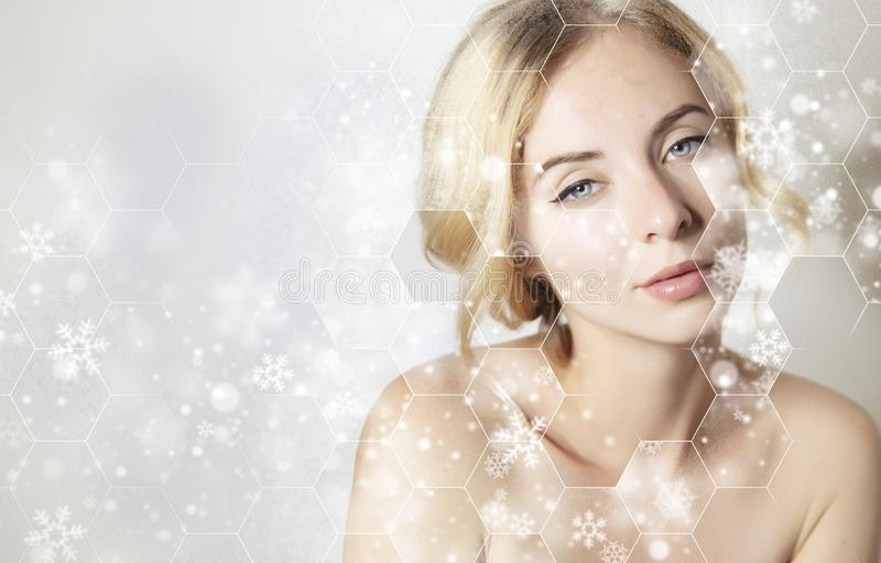 christmas banner for beauty product with woman face portrait with wrinkles repair, 2020 christmas skin treatment royalty free stock photos
