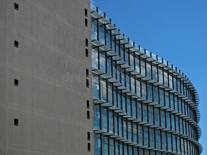 Grey Concrete Building With Blue Windows Free Public Domain Cc0 Image