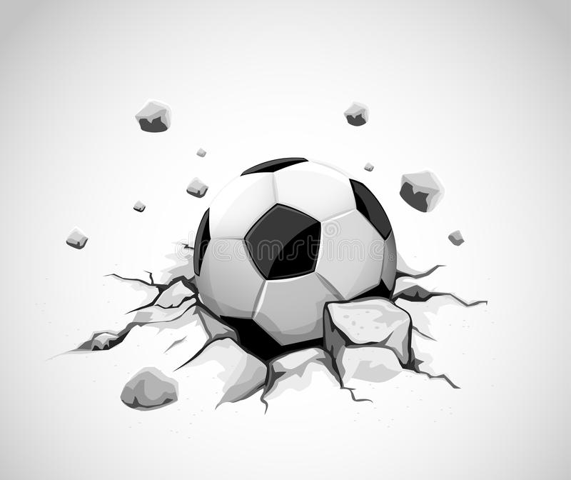 Grey concrete ground cracked by soccer ball royalty free illustration