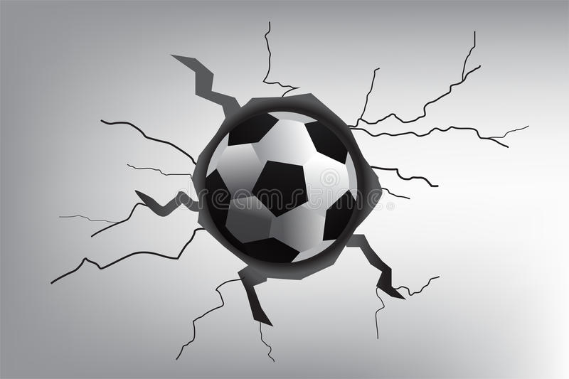 Grey concrete ground cracked by soccer ball vector illustration