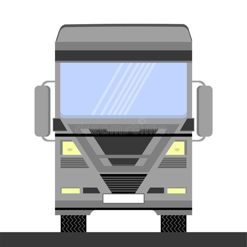 Grey Container Truck Icon on White Background. Front View. Cargo Delivery. Car Eurotrucks Delivering Vehicle vector illustration