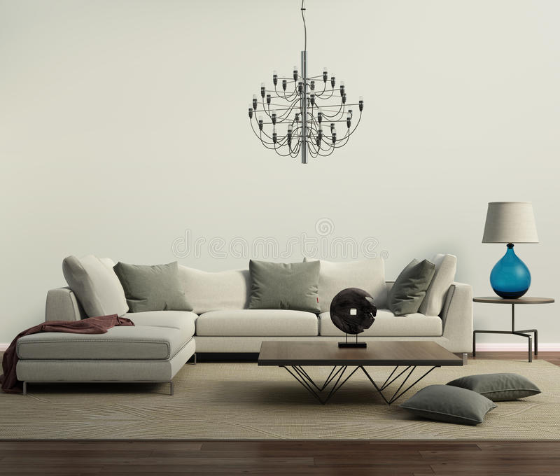 Grey contemporary modern sofa with lamp vector illustration
