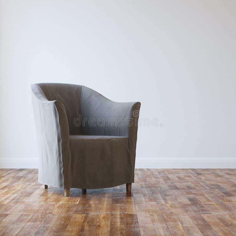 Grey Cozy Armchair In Empty-Zaal Binnenland met Parket royalty-vrije stock afbeeldingen