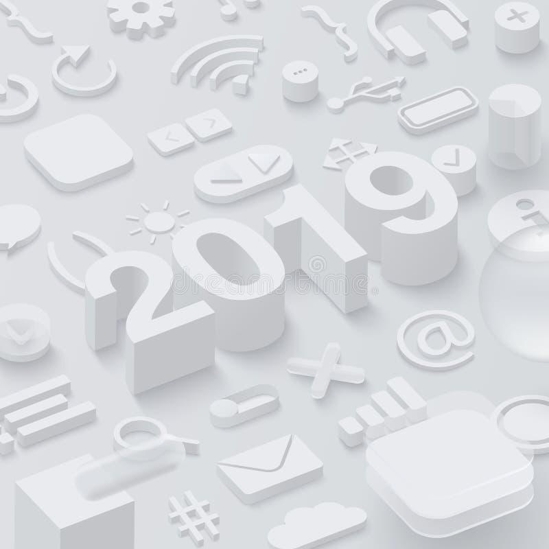 Grey 2019 3d background with ui web symbols. royalty free illustration