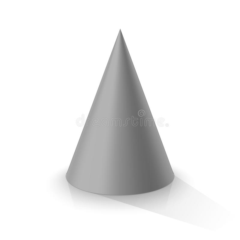 Grey 3d cone. On a white background. Vector illustration stock illustration