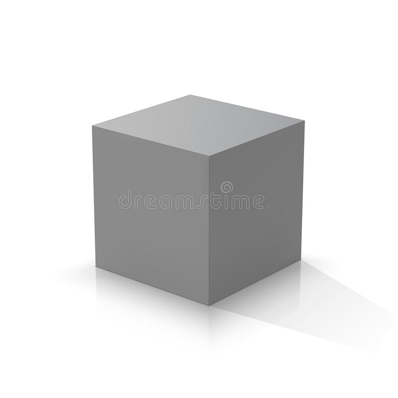 Grey 3d cube. Vector illustration royalty free illustration