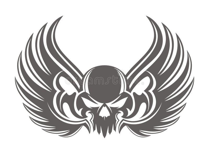 Grey dell'ala del cranio royalty illustrazione gratis