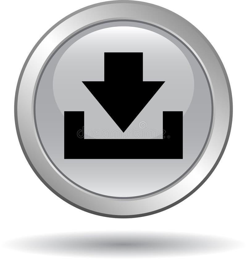 Grey dell'icona di web del bottone di download royalty illustrazione gratis