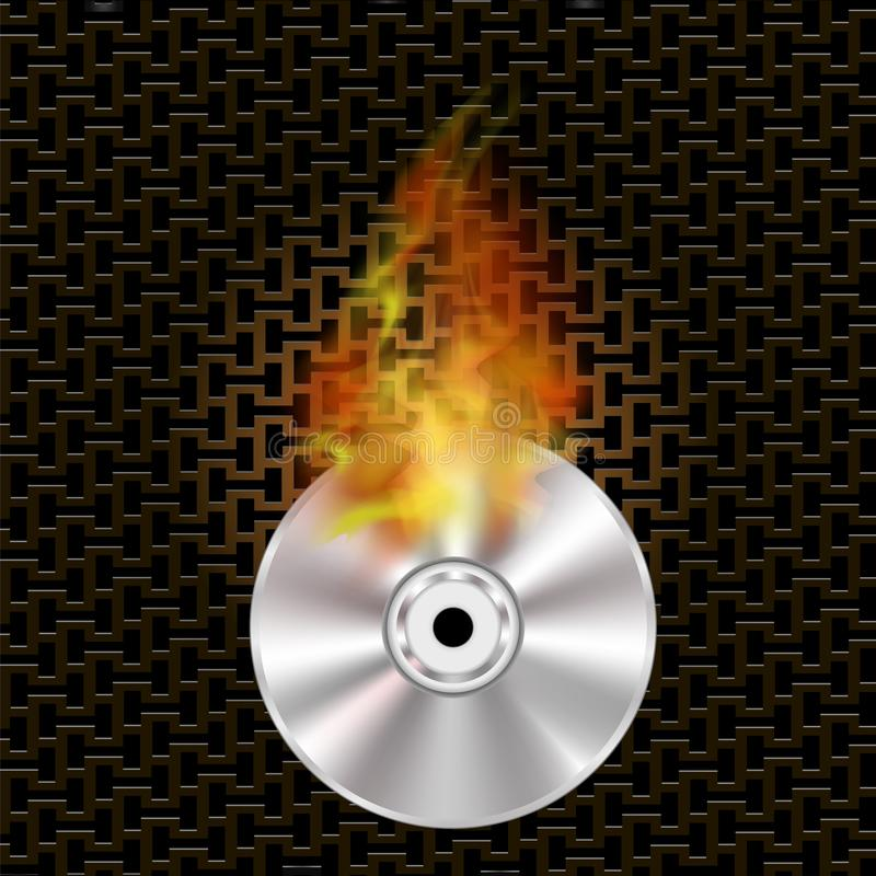 Grey Digital Burning Disc med brand och flamman stock illustrationer