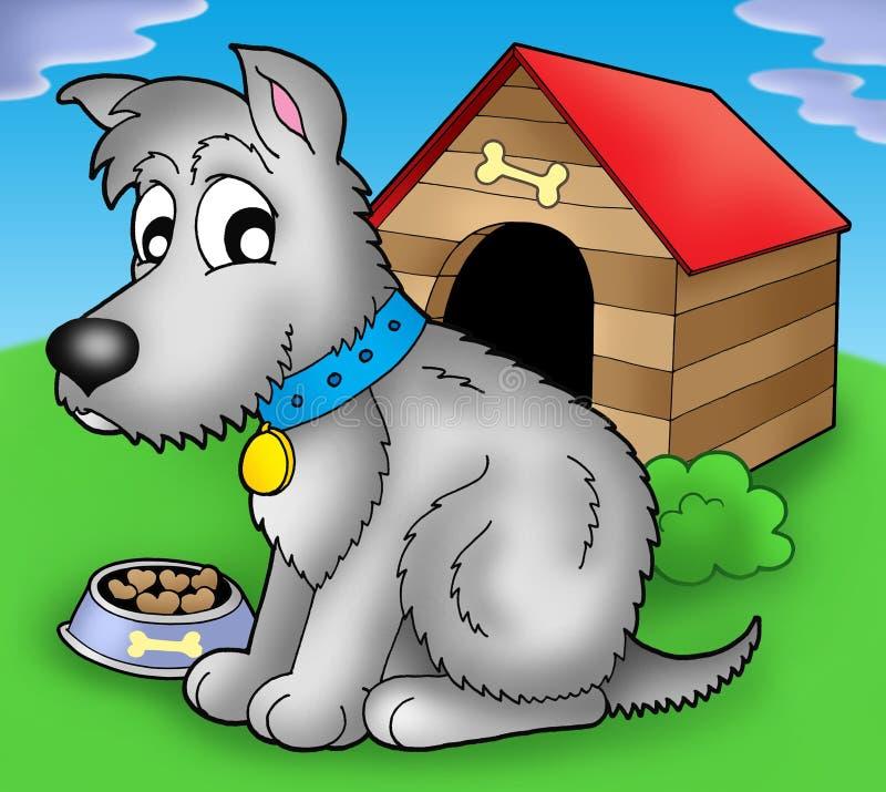 Download Grey Dog In Front Of Kennel Stock Illustration - Image: 9542017