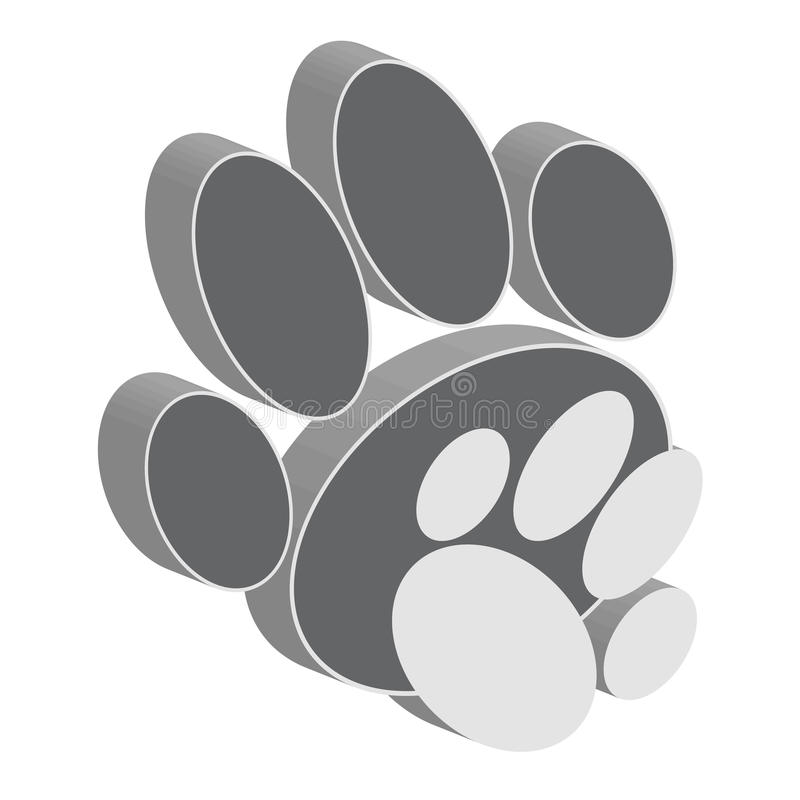 Free Grey Dog Paws On White Background. Animal Symbol 3D. Stock Photo - 90937300