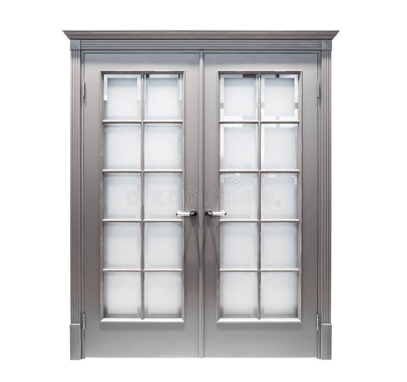 Grey door isolated royalty free stock photography