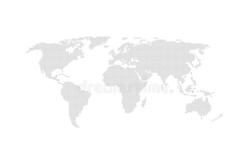 Grey dotted world map vector flat design. royalty free illustration