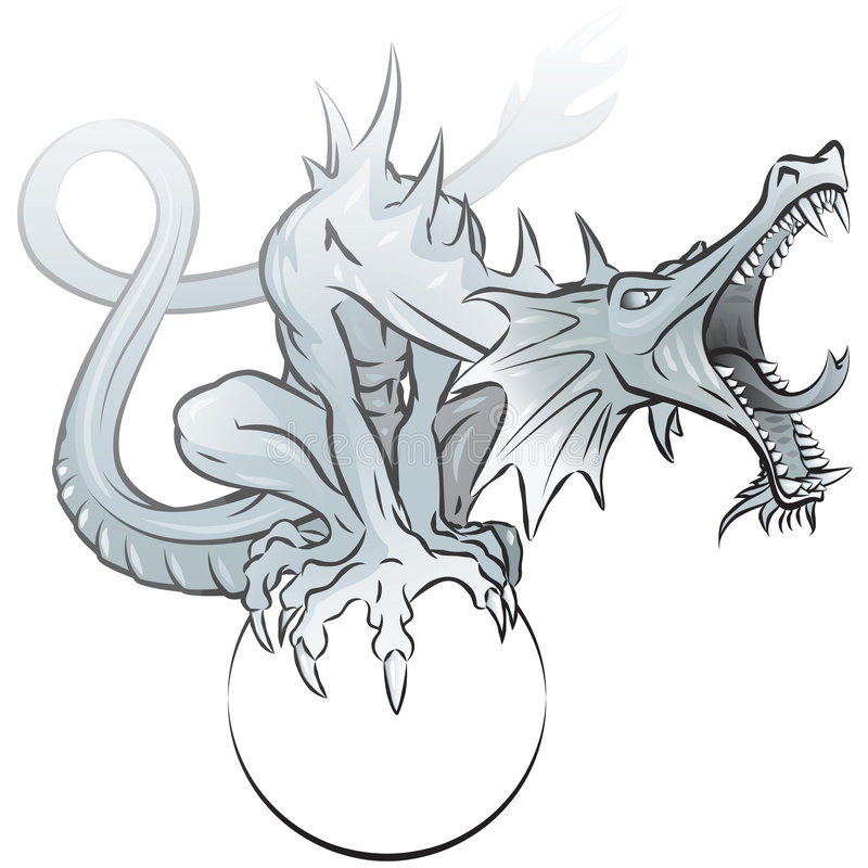 Download Grey dragon stock illustration. Image of sharp, claws - 5231086