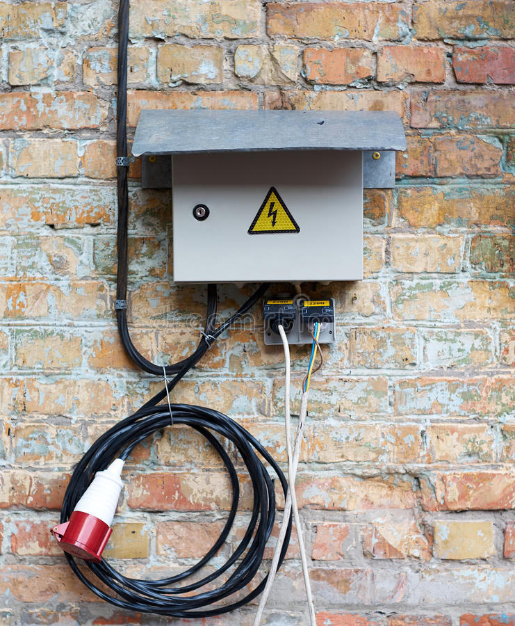 Grey Electrical Box On Wall Background Stock Image - Image of ...