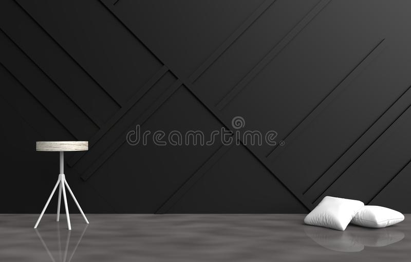 Grey empty room are decorated with white pillows, grey chair, black wood wall it is grid pattern and the cement floor stock photo