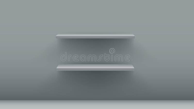 Grey empty shelves. Interior design element. vector illustration stock illustration