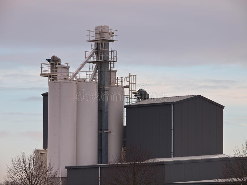 Grey Factory Building Royalty Free Stock Images