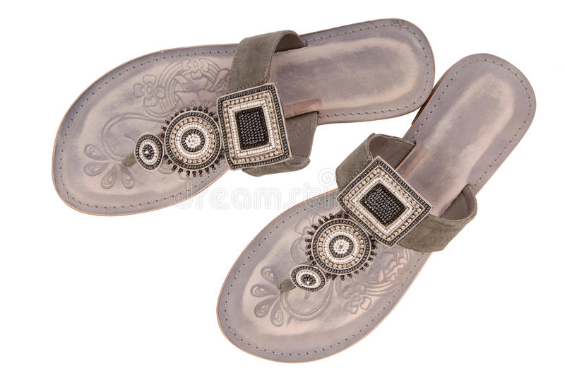 grey female open-toe shoes royalty free stock image