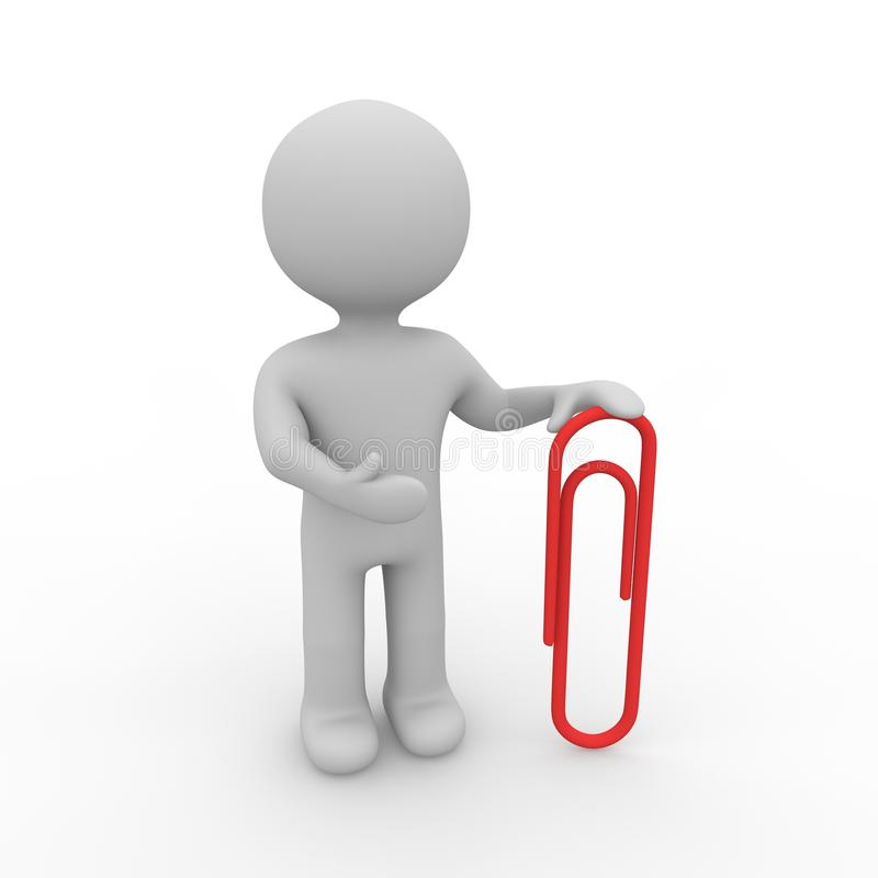 Download Grey Figure With Paper Clip Royalty Free Stock Photography - Image: 25164687