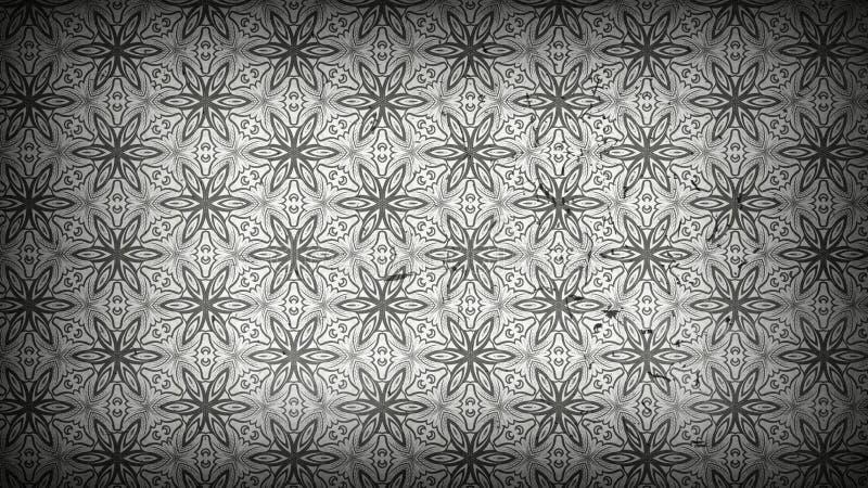 Grey Floral Pattern Wallpaper Template oscuro stock de ilustración