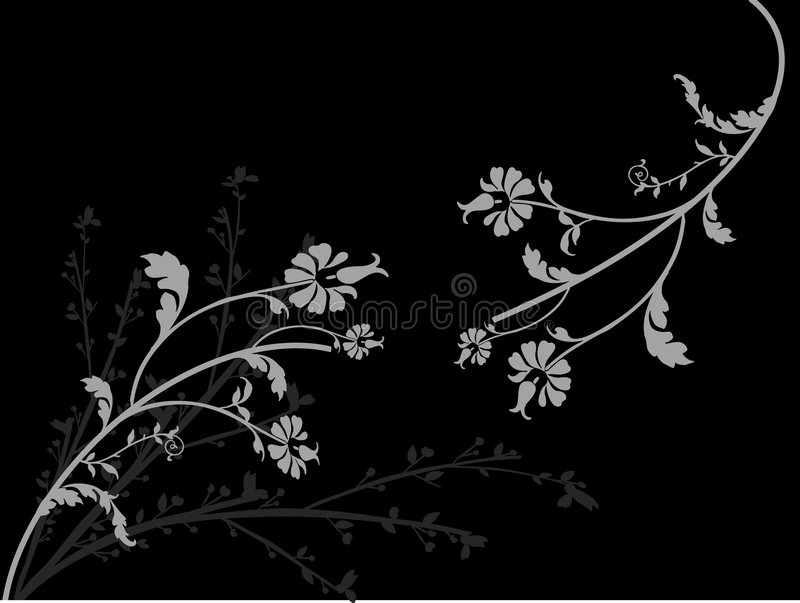 Grey flowers. Flower, black, grey, background, wallpaper vector illustration
