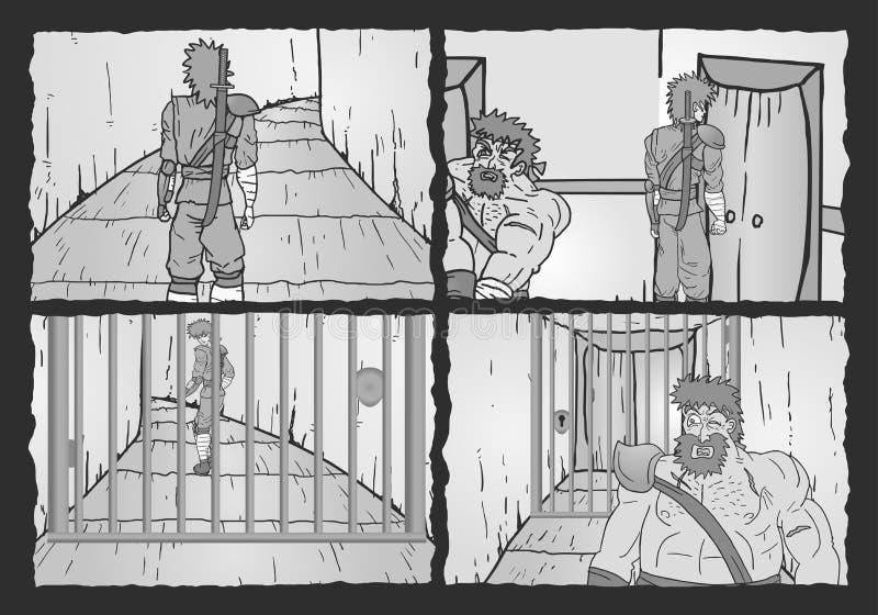 Grey four scenes royalty free illustration