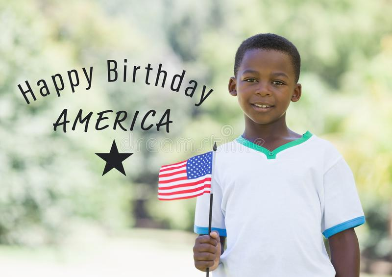 Grey fourth of July graphic next to boy holding american flag royalty free stock photos