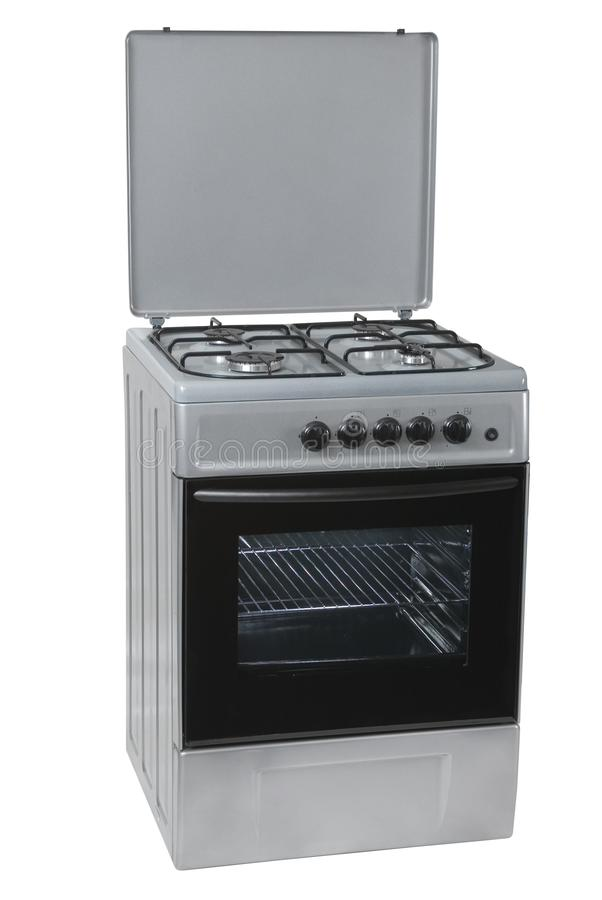 Grey free standing cooker, isolated on a white background stock images