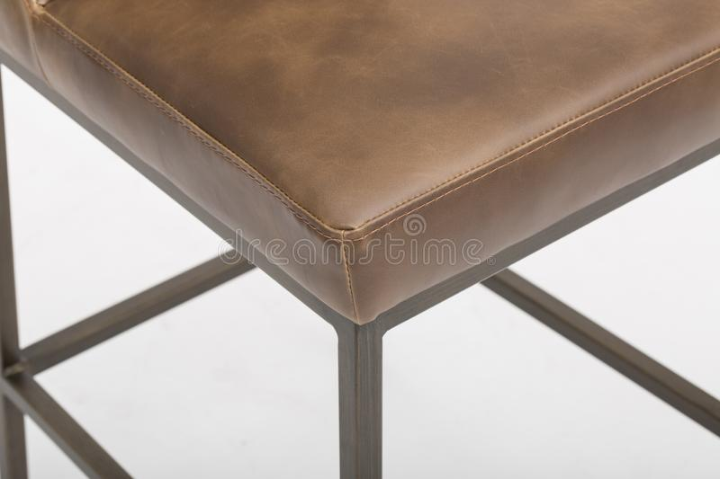 Grey - Furniture - Sun-pan, HIGHLAND DINING CHAIR - ANTIQUE BRASS - DARK GREY FABRIC, Bar Stool with Cushion with white back stock photos