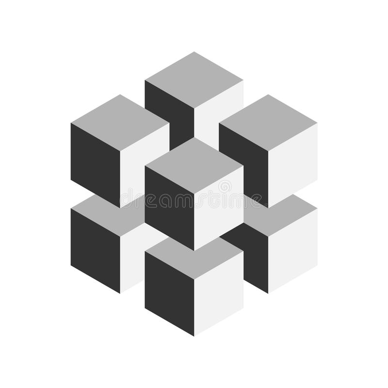 Grey geometric cube of 8 smaller isometric cubes. Abstract design element. Science or construction concept. 3D vector vector illustration