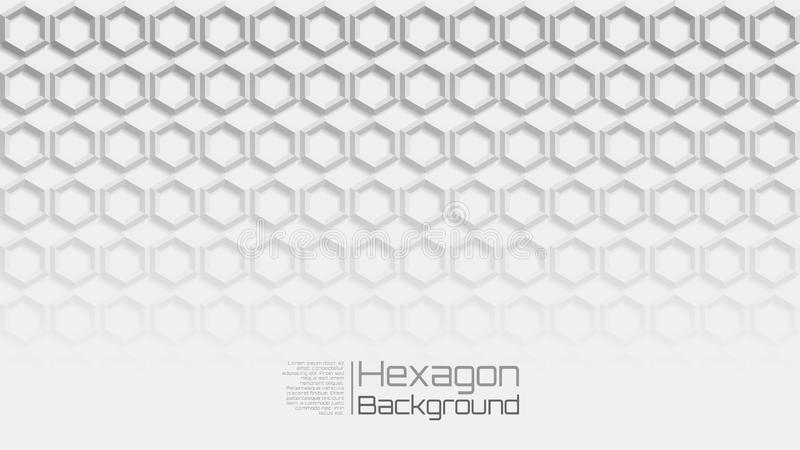 16:9 Grey Geometric Horizontal Hexagon Background claro ilustração royalty free