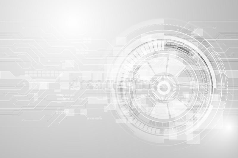 Grey geometric technology background with gear shape. Vector abs vector illustration