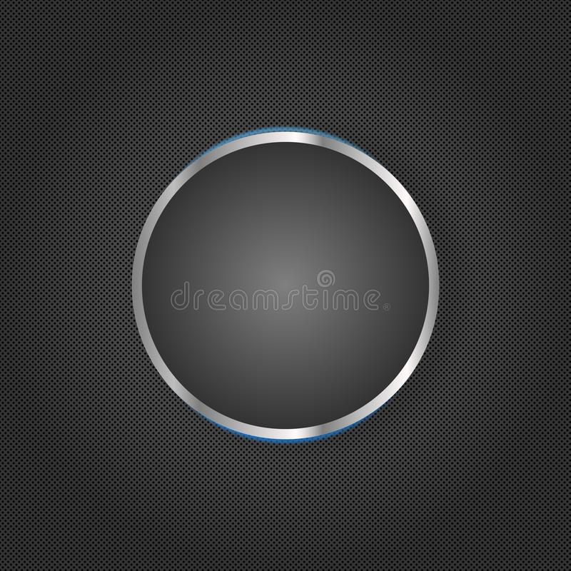Grey Geometric Texture Background foncé avec un cercle brillant au centre illustration de vecteur