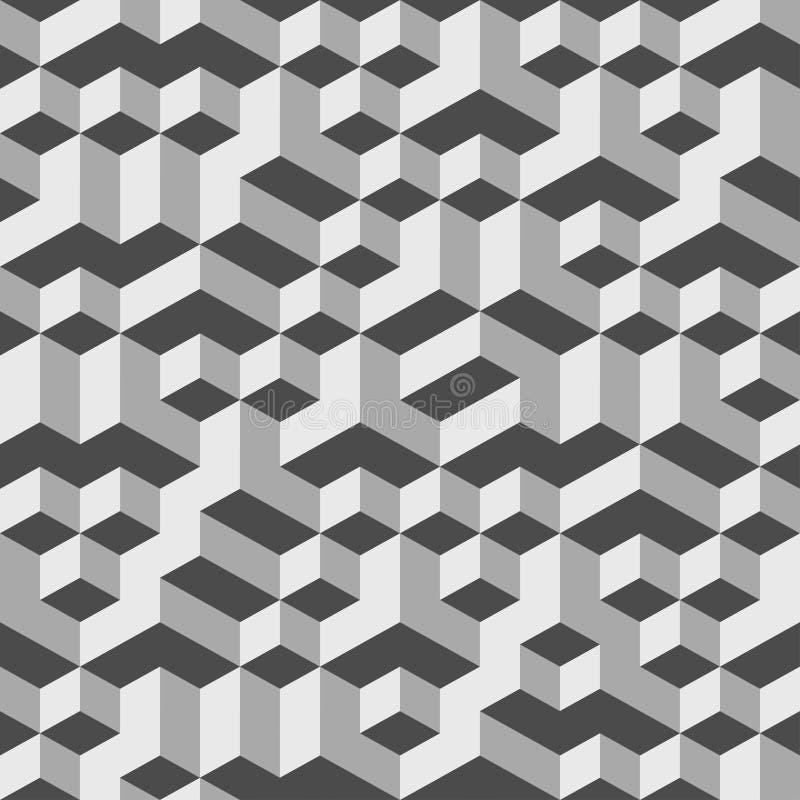 Grey Geometric Volume Seamless Pattern-Hintergrund 002 lizenzfreie abbildung