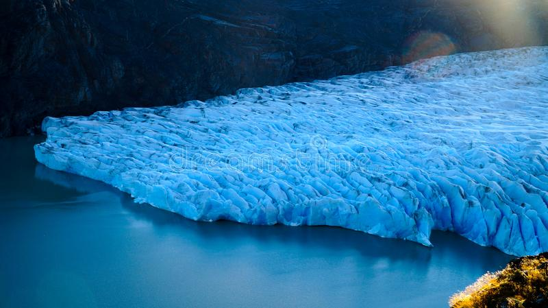 Grey Glacier in the Southern Patagonian Ice Field, Torres del Paine, Chile. stock photo