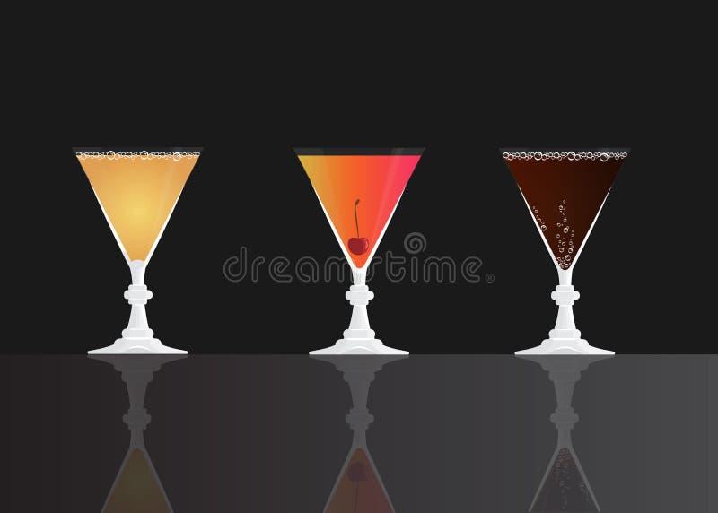 Grey Goose Cherry Noir, Cherry Daiquiri Cocktail, Cherry classic on black mirrored background. royalty free illustration