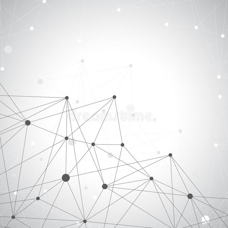 Grey graphic background dots with connections , illustration.  stock image