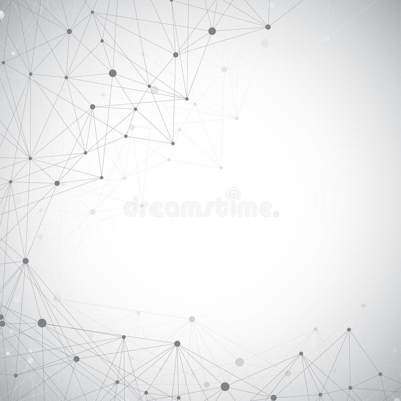 Grey graphic background illustration dots with connections for your design.  royalty free stock photo