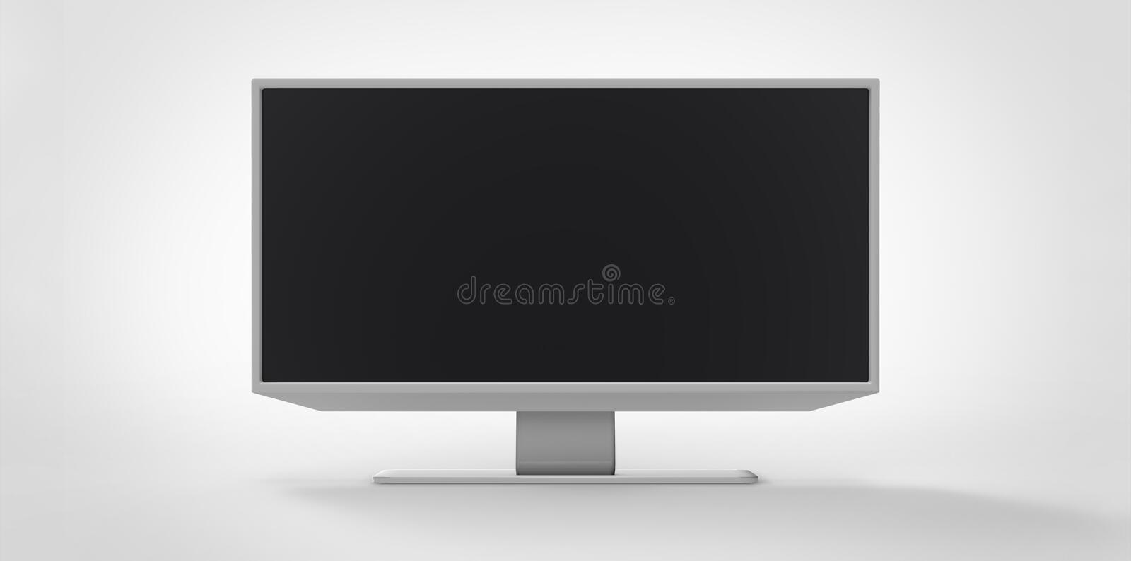 Grey gray silver metal iron reflective 3D TV LCD on white background vector illustration
