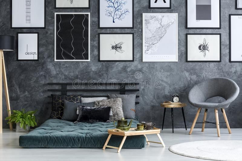 Grey and green bedroom interior royalty free stock photo