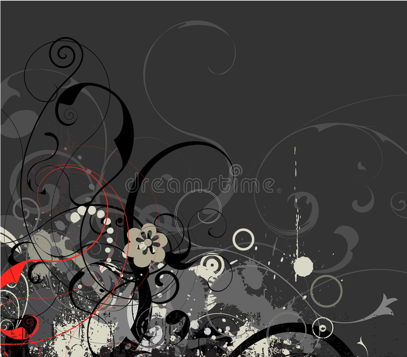 Grey grunge floral vector. Grungy decorative flower illustration vector royalty free illustration