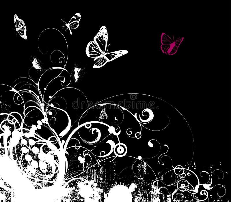 Grey grunge floral vector. Grungy decorative flower illustration vector vector illustration
