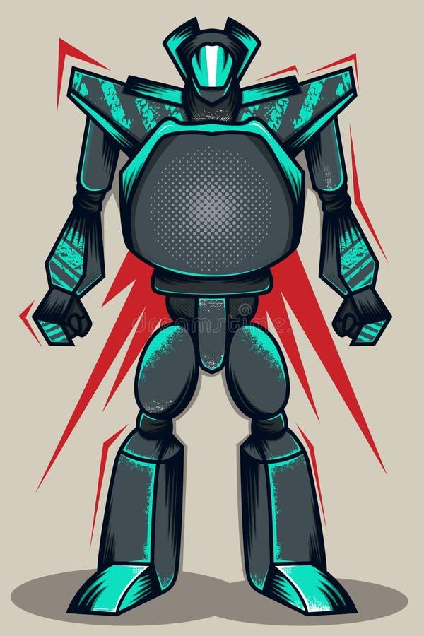 Grey Grunge Robot vektor illustrationer