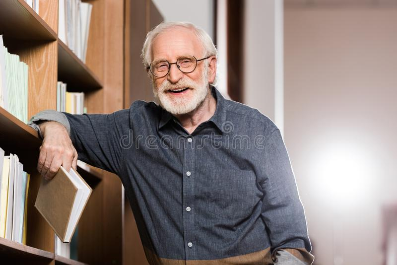 grey hair librarian holding book and leaning royalty free stock photos