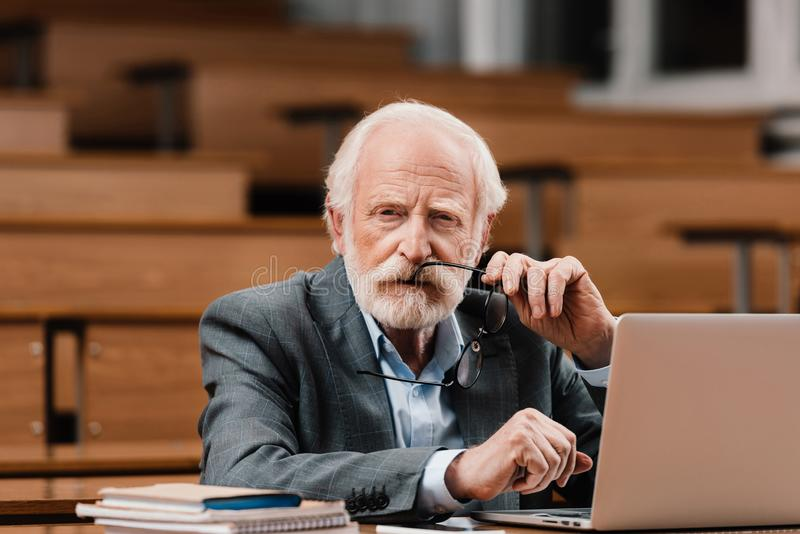 grey hair professor holding eyeglasses and looking stock photography